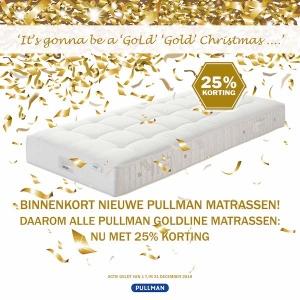 Goldline aanbieding 25% korting bij De slaperij